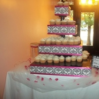 Reception, Flowers & Decor, Cakes, white, pink, black, cake, Cupcake, Stand