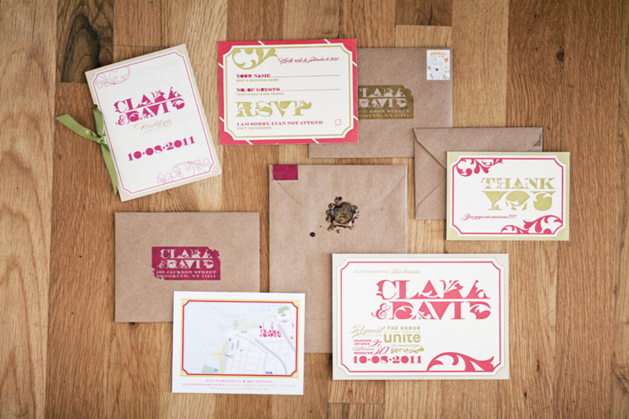 Stationery, Paper, pink, green, Modern, Modern Wedding Invitations, Invitations, Design, Goods, Clara dave