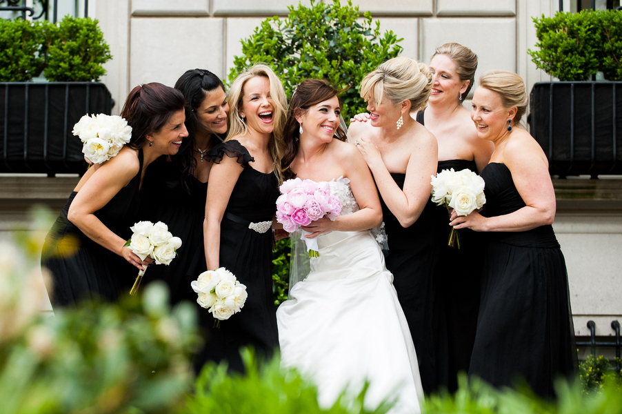 Bridesmaids, Bridesmaids Dresses, Fashion, white, pink, black, Bride, Elizabeth andrew