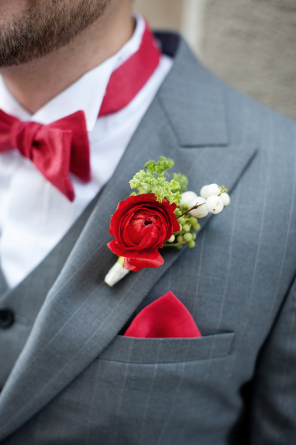 Flowers & Decor, red, green, Boutonnieres, Grey, Clara dave, Bow-ties