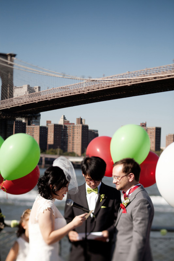Ceremony, Flowers & Decor, red, green, Bride, Groom, Bridge, Balloons, Clara dave