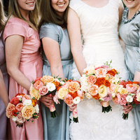 Bridesmaids, Bridesmaids Dresses, Fashion, pink, blue, Bride, Grey, Bouquets, Katie ben