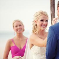 Ceremony, Bride, Beach, Groom, Vows, Smiles, Kristin broen, Flowers & Decor, Beach Wedding Flowers & Decor
