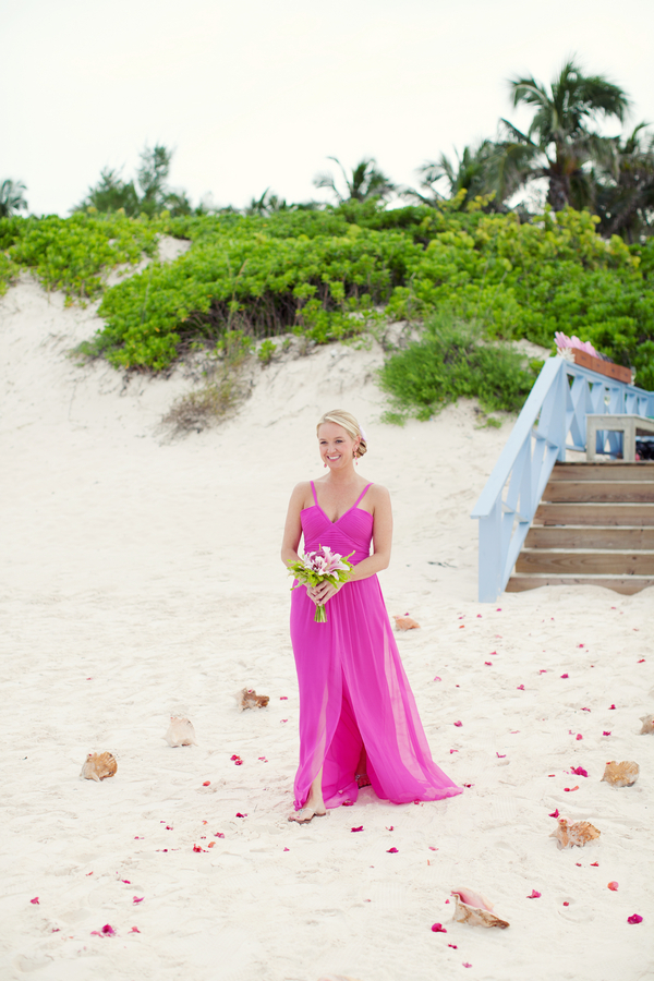 Bridesmaids Dresses, Wedding Dresses, Beach Wedding Dresses, Destinations, Fashion, pink, dress, Beach, Bridesmaid, Destination, Sand, Navy, Preppy, Fuchsia, Magenta, Kristin broen, Nautical/Preppy Wedding Dresses