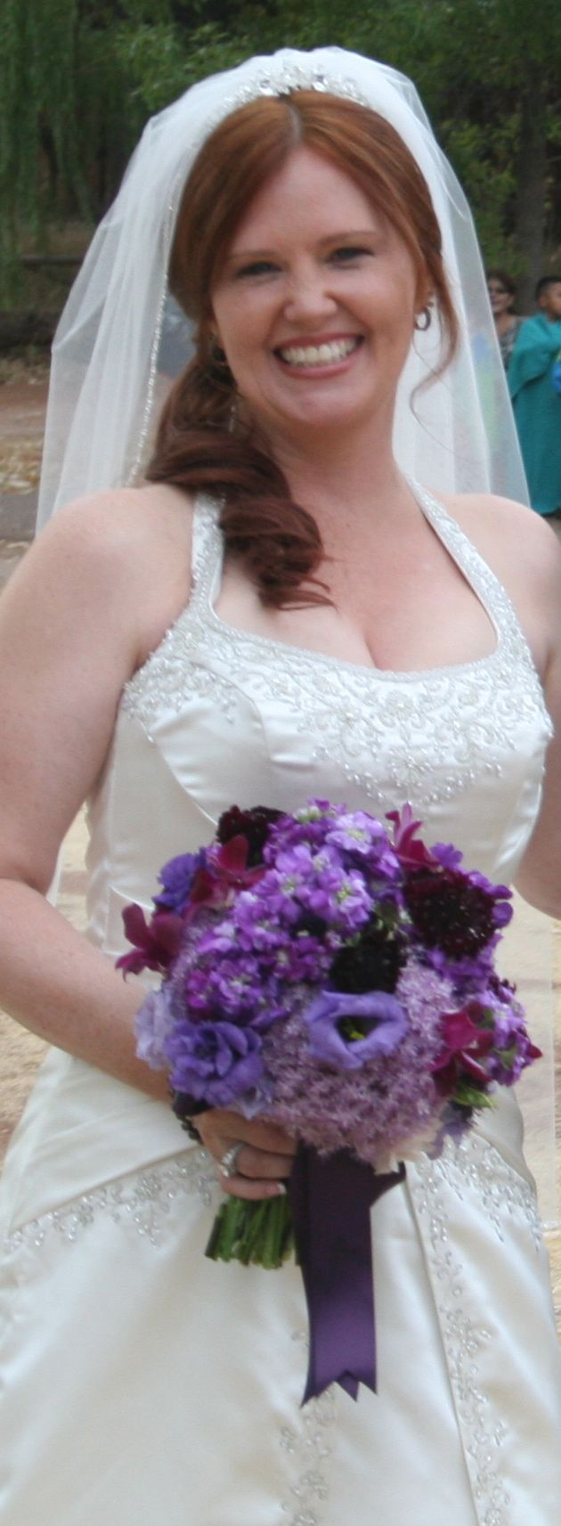 purple, Bride, Bouquet, Happy