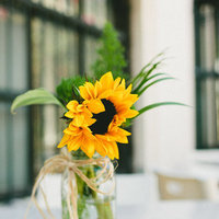 Flowers & Decor, yellow, green, Flower, Centerpiece, Sunflower, Jar, Mason, Robyn, Robyn ben