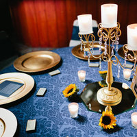 gold, Candles, Table, Navy, Robyn, Scape, Robyn ben