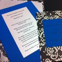Stationery, blue, black, Invitations