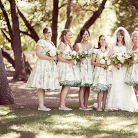 Bridesmaids, Bridesmaids Dresses, Fashion, white, blue, green, Bride, Bouquet, Wedding, Dresses, Patterned, Danielle cody