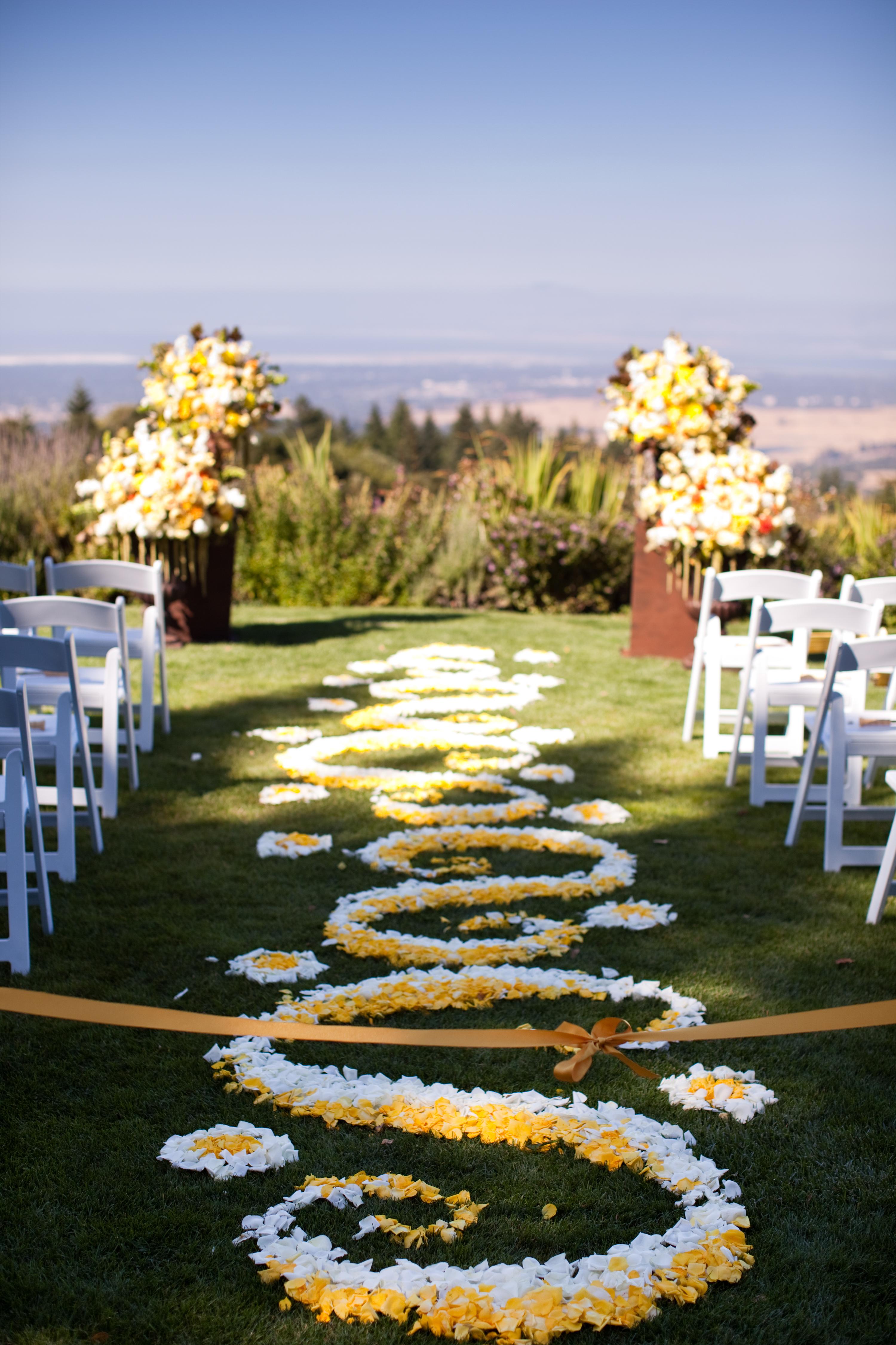 Ceremony, Flowers & Decor, white, yellow, Petals, Aisle, Ashley mark