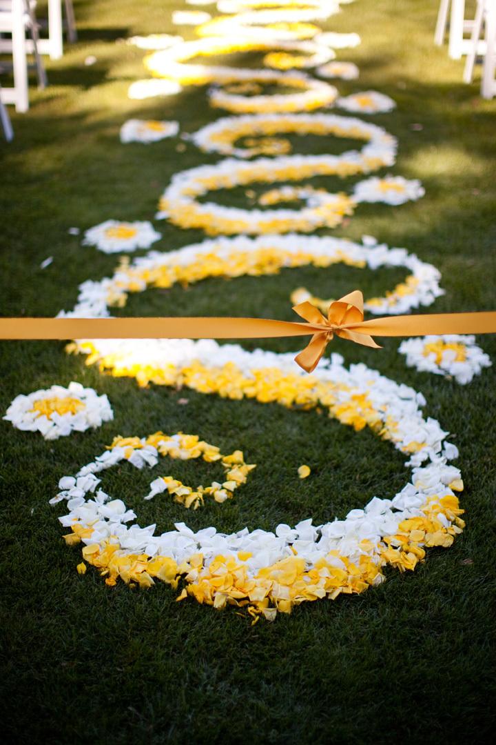 Ceremony, Flowers & Decor, yellow, Petals, Aisle, Ashley mark