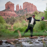 Destinations, white, red, purple, black, silver, Wedding, Destination, Water, Sedona, Creek