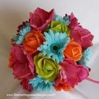 Flowers & Decor, orange, pink, blue, green, Flowers