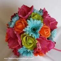 Flowers & Decor, orange, pink, blue, green, Flowers