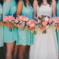 white, blue, Bride, Teal, Bouquets, Coral, Chapel, Mint, Rachel craig