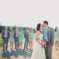 blue, gray, Bride, Bouquet, Groom, Coral, Mint, Rachel craig