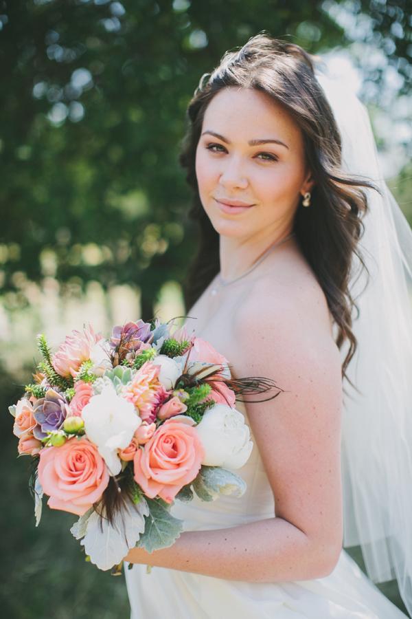 white, pink, Bride, Bouquet, Coral, Rachel craig