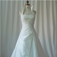 Wedding Dresses, Fashion, white, dress, Wedding, Satin, A, High, Beaded, Line, Collar, Appliques, satin wedding dresses