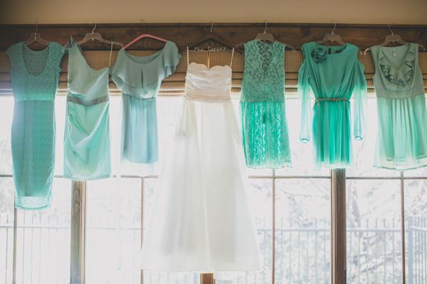 white, Gown, Wedding, Bridesmaid, Teal, Mint, Real, Rachel craig