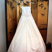 Wedding Dresses, A-line Wedding Dresses, Fashion, white, dress, Bride, Gown, Train, Wedding, Bridal, Designer, Strapless, Strapless Wedding Dresses, A-line, Valenta, Alvina, Sweep