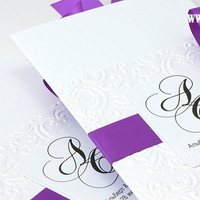 Stationery, white, purple, Invitations