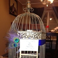 Reception, Flowers & Decor, purple, blue, gold, Cage, Bird, Birdcage, Box, Card, Inspiration board, Peacock