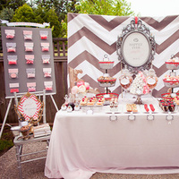 Reception, Flowers & Decor, pink, gray, And, Candy, Bar