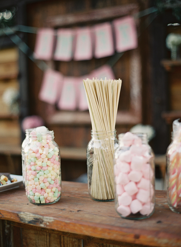 Reception, Flowers & Decor, Summer, Rustic, Outdoor, Rustic Wedding Flowers & Decor, Dessert, Sweet, Elegant, Candy, Chic, Ranch, Jars, Mason, Pastel, Diana john, Diana j
