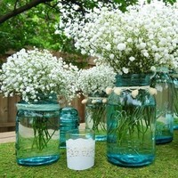 Reception, Flowers & Decor, white, blue, Centerpieces, Flowers, Centerpiece
