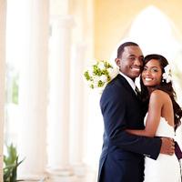 white, black, Bride, Bouquet, Groom, Portrait, Columns, Crystal wicksell