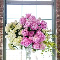 Reception, Flowers & Decor, pink, Centerpieces, Centerpiece, Tall, Cream, Hydrangeas, Brick, Shera dan, Shera daniel