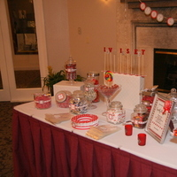 Reception, Flowers & Decor, white, red, silver, Table, Candy, Buffet, Inspiration board