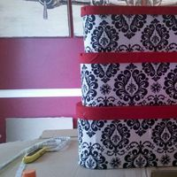 Reception, Flowers & Decor, white, red, black, Box, Card, Damask