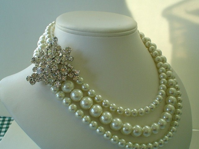Jewelry, white, silver, Necklaces, Brooches, Vintage, Necklace, Brooch, Pearl