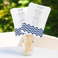 Ceremony, DIY, Flowers & Decor, Stationery, Invitations, Ceremony Programs, Wedding, Program, Fan, Chevron