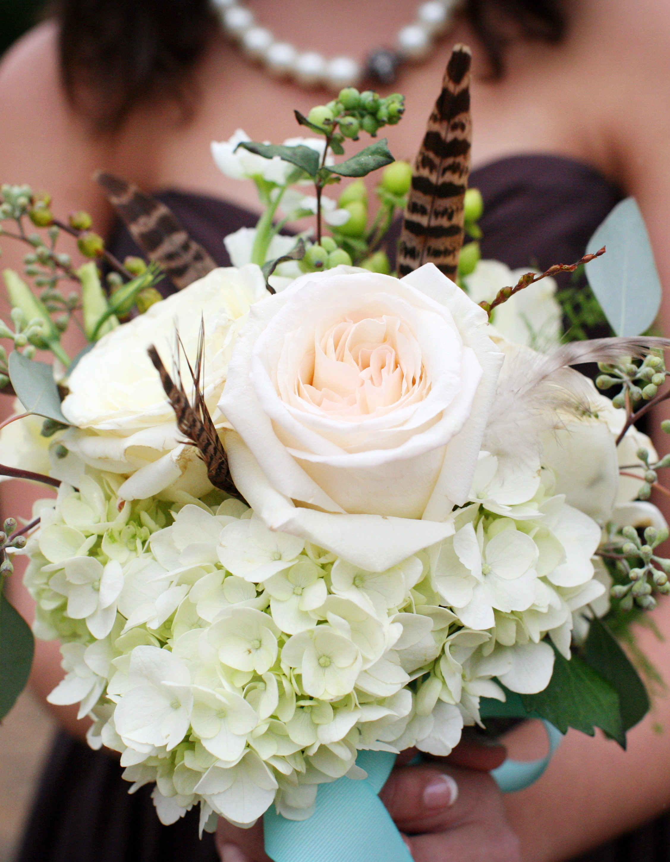 Beauty, ivory, Feathers, Fall, Rustic, Bouquet, Bridesmaid, Courtney sawyer