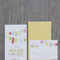 Stationery, yellow, pink, blue, Invitations, Andrea eric, Pennants