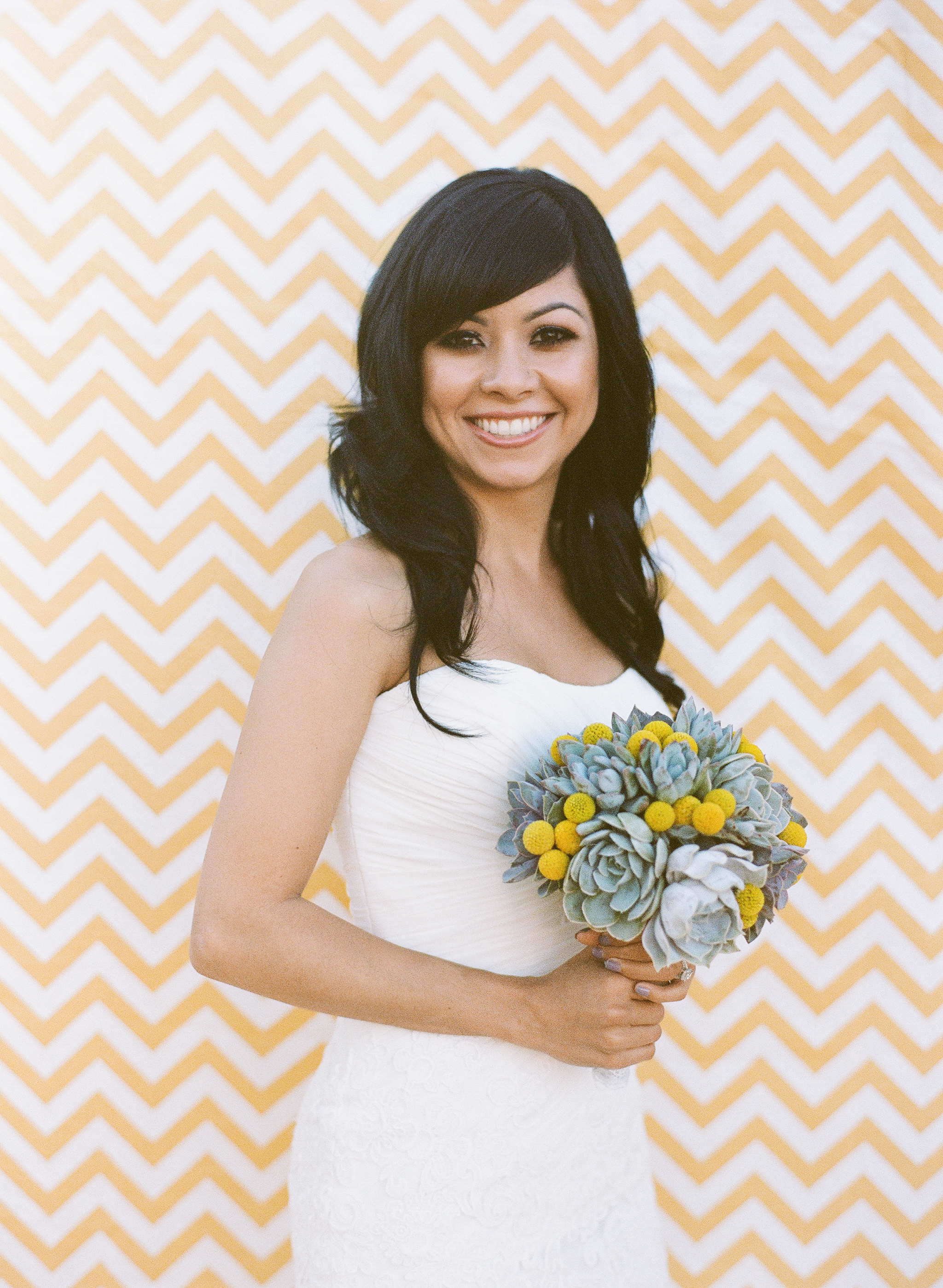 white, yellow, Bride, Bouquet, Succulents, Chevron, Andrea eric