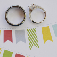 pink, blue, green, Rings, Andrea eric, Pennants