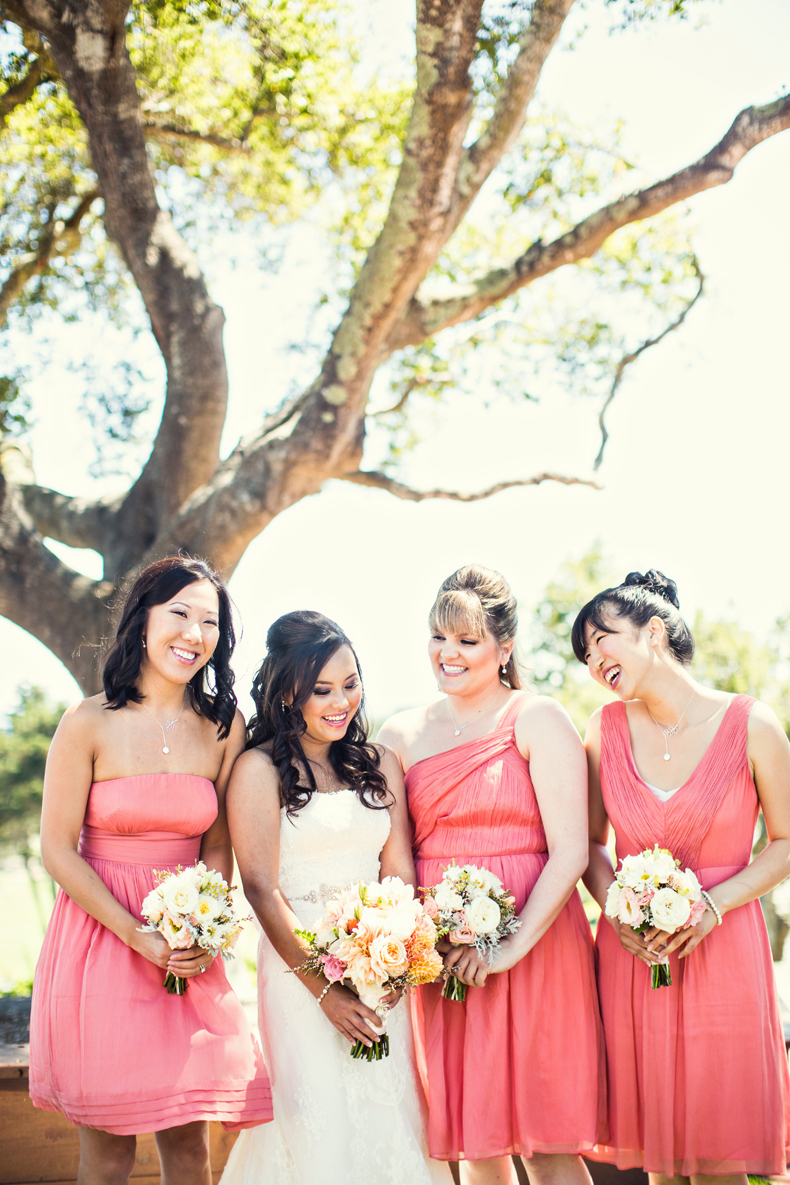 Bridesmaids, Bridesmaids Dresses, Fashion, white, Gown, Strapless, Strapless Wedding Dresses, Dresses, Bouquets, Coral, Jeanne johnhan