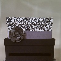 Reception, Flowers & Decor, Decor, white, purple, black, Gifts, Cards, Damask, Cardbox