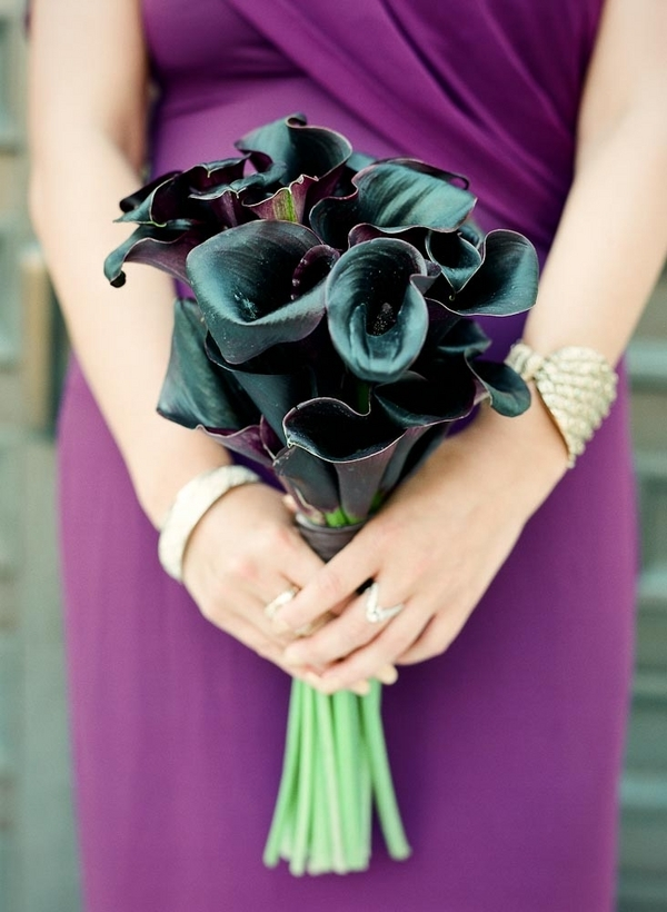 black, Bouquet, Bridesmaid, Calla, Lilies, Plum, Lauren paul