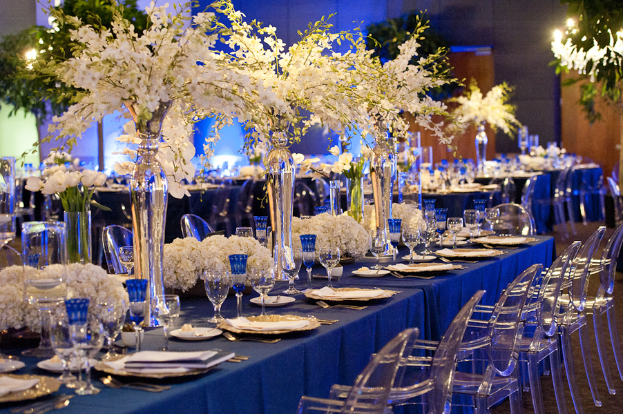 Reception, Flowers & Decor, ivory, Centerpieces, Centerpiece, Elegant, Formal, Sophisticated, Indigo, Décor, Lauren paul