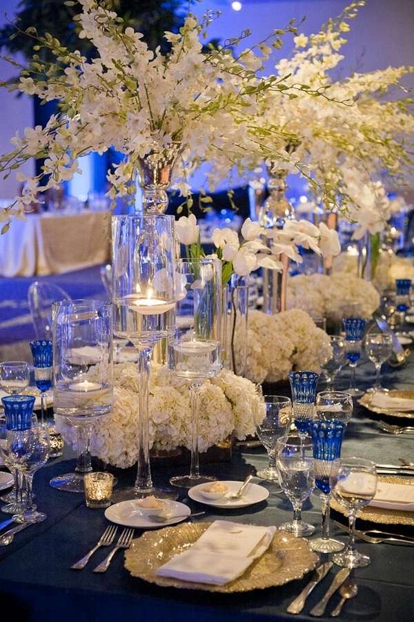 Reception, Flowers & Decor, ivory, Elegant, Formal, Sophisticated, Indigo, Décor, Lauren paul