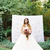 Ceremony, Flowers & Decor, Wedding Dresses, Calligraphy, Ball Gown Wedding Dresses, Fashion, pink, dress, Bouquet, Wedding, Ballgown, Lazaro, Estate, Backdrop, Poem, Crimson, Love poems styled wedding, 3108