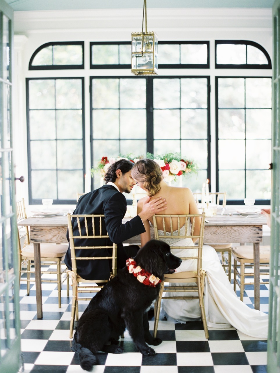 Reception, Flowers & Decor, Romantic, Dog, Couple, Love poems styled wedding