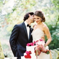 Reception, Flowers & Decor, Cakes, red, cake, Bride, Groom, And, Couple, Lazaro, Love poems styled wedding, 3214