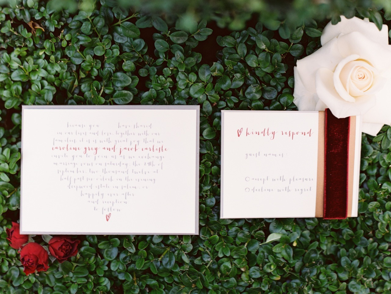 Stationery, Invitations, Rose, Ribbon, Velvet, Love poems styled wedding