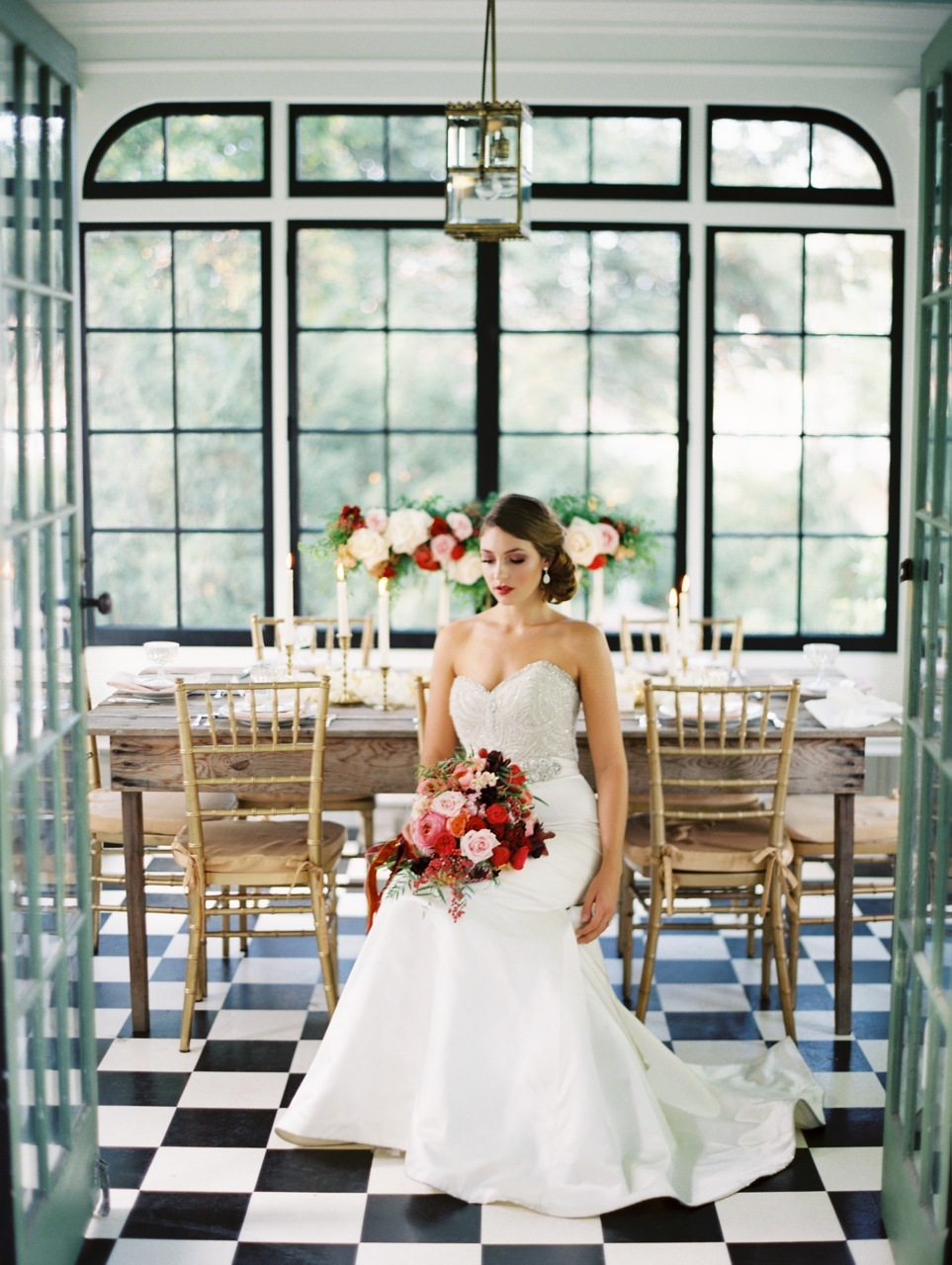 Bride, Lazaro, Crimson, Checkered, Love poems styled wedding, 3214, Greenhouse