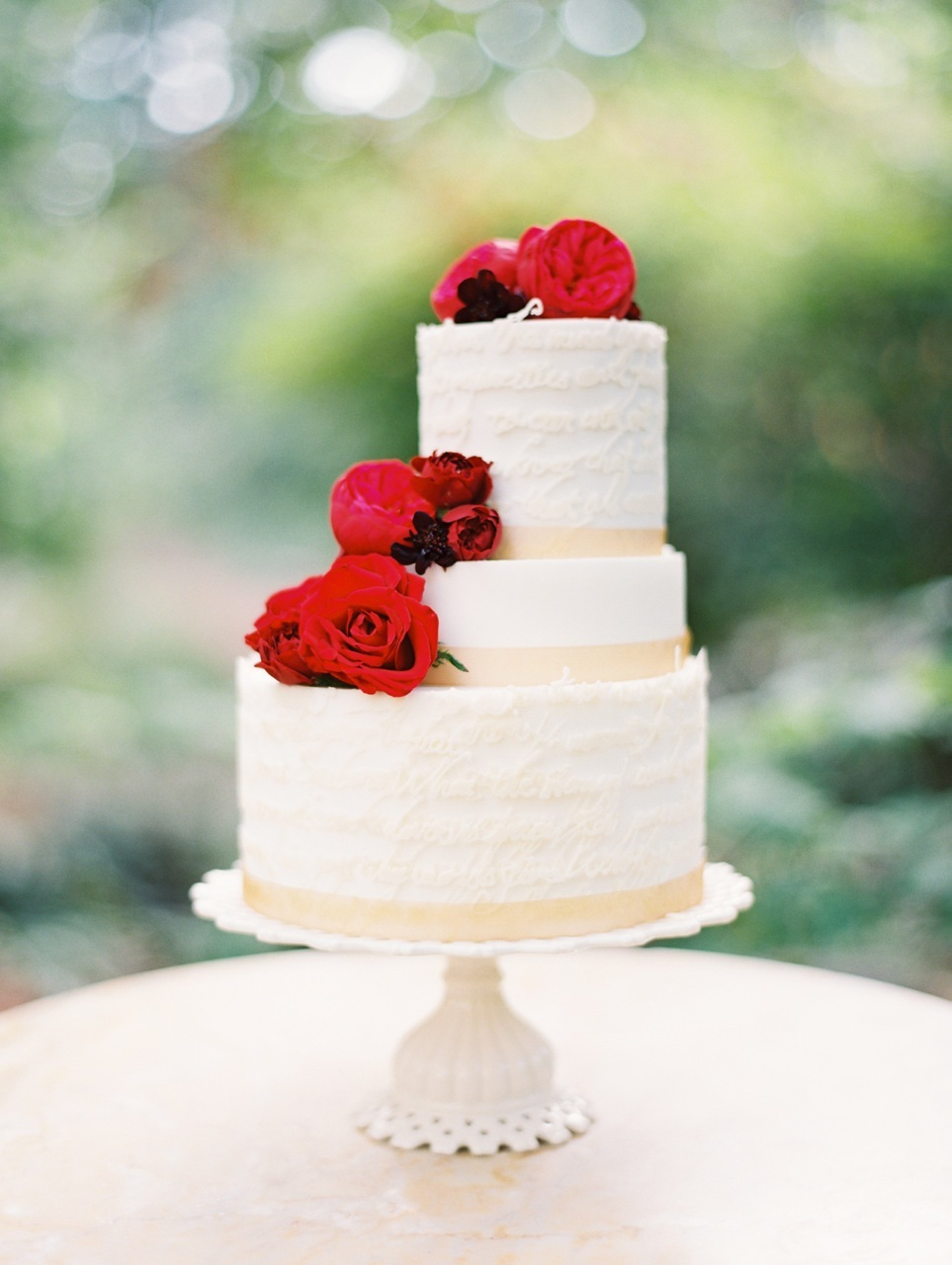 Flowers & Decor, red, Modern, Garden, Classic Wedding Cakes, Floral Wedding Cakes, Roses, Crimson, Love poems styled wedding